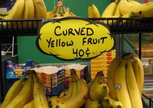 Sign - Curved Yellow Fruit