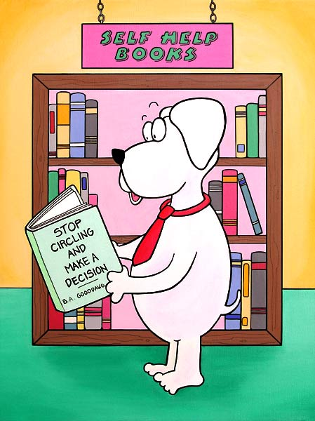 Dog with Self-Help Book