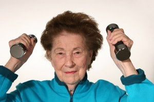 Old Woman Exercising _ with Weights