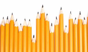 Row of Yellow No 2 Pencils