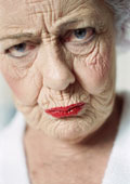 Wrinkled Frowning Woman