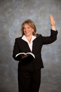Pam with Bible